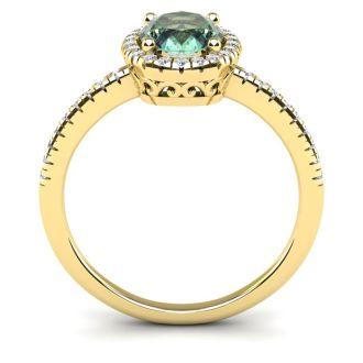 1 1/4 Carat Oval Shape Green Amethyst and Halo Diamond Ring In 14 Karat Yellow Gold