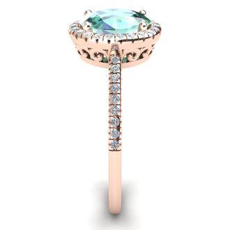 1 1/4 Carat Oval Shape Green Amethyst and Halo Diamond Ring In 14 Karat Rose Gold