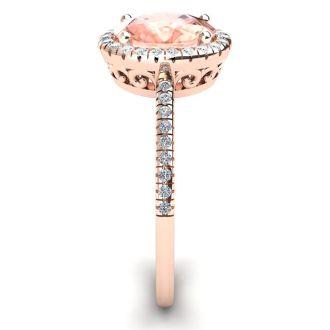 1 1/3 Carat Oval Shape Morganite and Halo Diamond Ring In 14 Karat Rose Gold