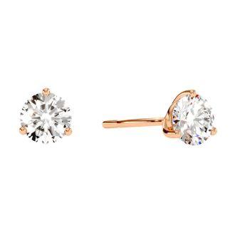1 1/2 Carat Diamond Martini Stud Earrings In 14 Karat Rose Gold