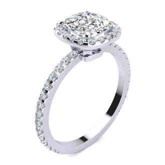 2 1/2 Carat Cushion Cut Halo Diamond Engagement Ring In 14 Karat White Gold