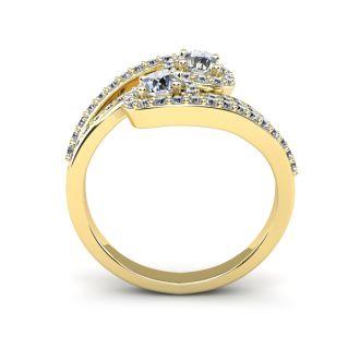 0.90 Carat Two Stone Diamond Swirl Halo Ring In 14K Yellow Gold