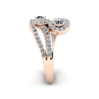 0.90 Carat Two Stone Diamond Swirl Halo Ring In 14K Rose Gold