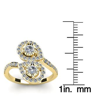 3/4 Carat Two Stone Diamond Pear-Shaped Halo Ring In 14K Yellow Gold