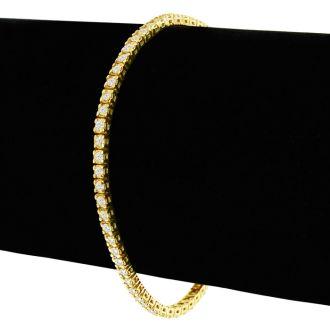 2.30 Carat Diamond Tennis Bracelet In 14 Karat Yellow Gold, 8 Inches