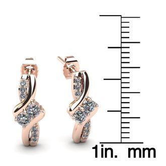 1/4 Carat Two Stone Diamond Knot Earrings In 14K Rose Gold