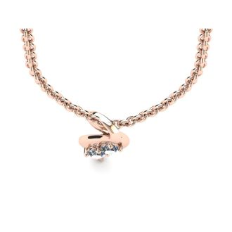 1/4 Carat Two Stone Two Diamond Intertwined Necklace In 14K Rose Gold