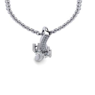 1/3 Carat Two Stone Two Diamond Swirl Necklace In 14K White Gold