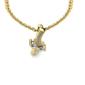 1/3 Carat Two Stone Two Diamond Swirl Necklace In 14K Yellow Gold