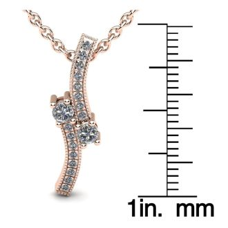 1/3 Carat Two Stone Two Diamond Swirl Necklace In 14K Rose Gold