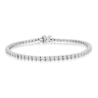 3 1/2 Carat Diamond Tennis Bracelet In 14 Karat White Gold, 8 Inches