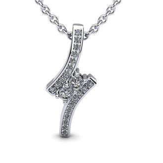 1/3 Carat Two Stone Two Diamond Pendant Necklace In 14K White Gold