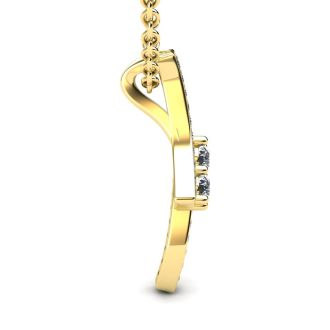 1/3 Carat Two Stone Two Diamond Pendant Necklace In 14K Yellow Gold