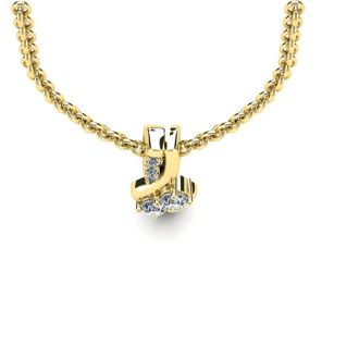 1/4 Carat Two Stone Two Diamond Knot Necklace In 14K Yellow Gold
