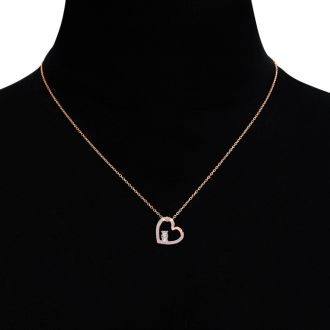 1/2 Carat Two Stone Two Diamond Heart Necklace In 14K Rose Gold