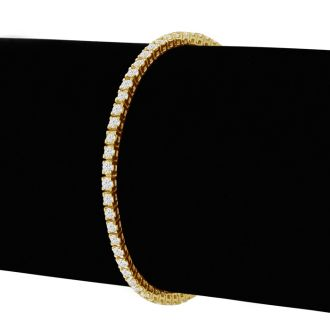 3 1/2 Carat Diamond Tennis Bracelet In 14 Karat Yellow Gold, 8 Inches