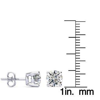1 3/4 Carat Round Diamond Stud Earrings In 14 Karat White Gold