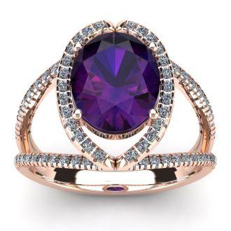 3 Carat Oval Shape Amethyst and Halo Diamond Ring In 14 Karat Rose Gold