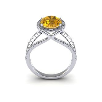 3 Carat Oval Shape Citrine and Halo Diamond Ring In 14 Karat White Gold