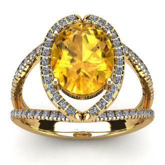 3 Carat Oval Shape Citrine and Halo Diamond Ring In 14 Karat Yellow Gold