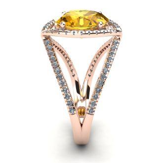 3 Carat Oval Shape Citrine and Halo Diamond Ring In 14 Karat Rose Gold