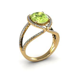 3 Carat Oval Shape Peridot and Halo Diamond Ring In 14 Karat Yellow Gold