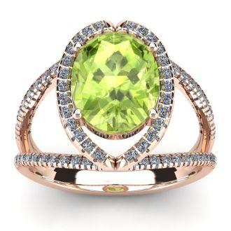 3 Carat Oval Shape Peridot and Halo Diamond Ring In 14 Karat Rose Gold