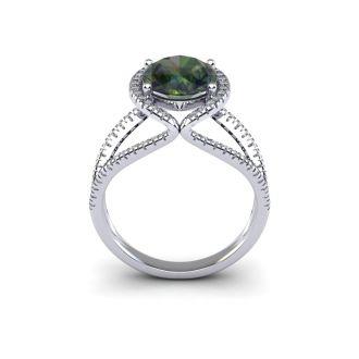 3 Carat Oval Shape Mystic Topaz and Halo Diamond Ring In 14 Karat White Gold
