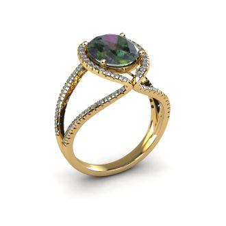 3 Carat Oval Shape Mystic Topaz and Halo Diamond Ring In 14 Karat Yellow Gold