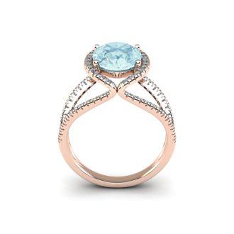 2 3/4 Carat Oval Shape Aquamarine and Halo Diamond Ring In 14 Karat Rose Gold