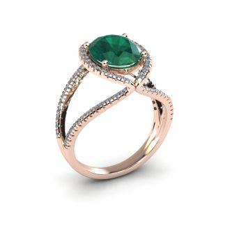 2 3/4 Carat Oval Shape Emerald and Halo Diamond Ring In 14 Karat Rose Gold