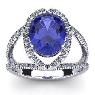3 Carat Oval Shape Tanzanite and Halo Diamond Ring In 14 Karat White Gold