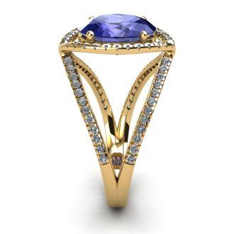3 Carat Oval Shape Tanzanite and Halo Diamond Ring In 14 Karat Yellow Gold