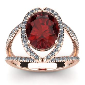 3 1/2 Carat Oval Shape Garnet and Halo Diamond Ring In 14 Karat Rose Gold