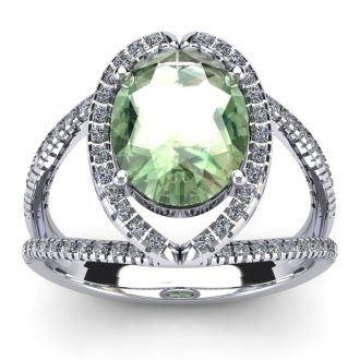 3 Carat Oval Shape Green Amethyst and Halo Diamond Ring In 14 Karat White Gold