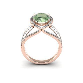 3 Carat Oval Shape Green Amethyst and Halo Diamond Ring In 14 Karat Rose Gold