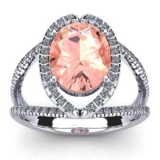 2 3/4 Carat Oval Shape Morganite and Halo Diamond Ring In 14 Karat White Gold