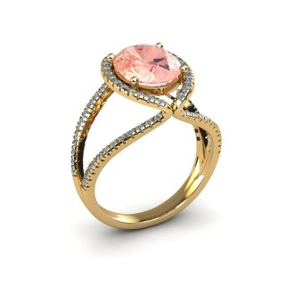 2 3/4 Carat Oval Shape Morganite and Halo Diamond Ring In 14 Karat Yellow Gold