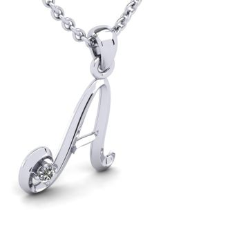 Letter A Diamond Initial Necklace In White Gold With Free Chain