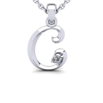 Diamond Initial Necklace, Letter C In Swirly Style, White Gold