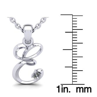 Diamond Initial Necklace, Letter E In Swirly Style, White Gold
