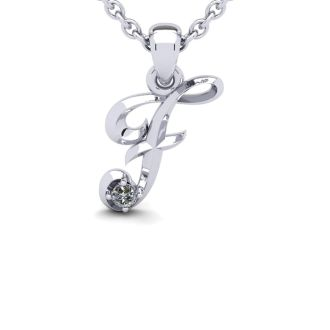 Diamond Initial Necklace, Letter F In Swirly Style, White Gold