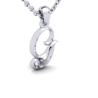 Diamond Initial Necklace, Letter G In Swirly Style, White Gold