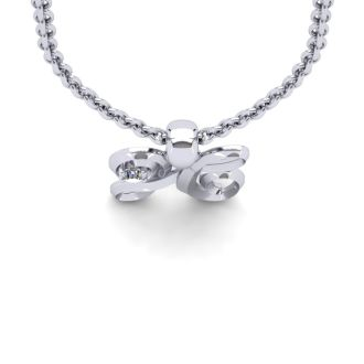 Diamond Initial Necklace, Letter H In Swirly Style, White Gold