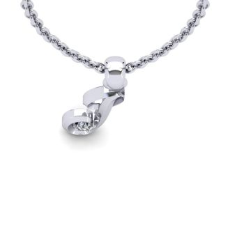 Diamond Initial Necklace, Letter J In Swirly Style, White Gold