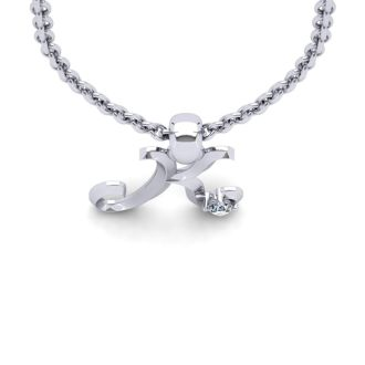 Letter K Diamond Initial Necklace In White Gold With Free Chain