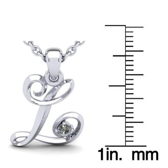 Diamond Initial Necklace, Letter L In Swirly Style, White Gold