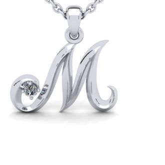 Diamond Initial Necklace, Letter M In Swirly Style, White Gold