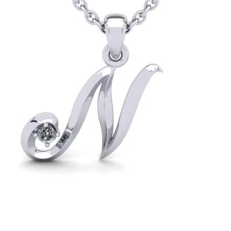 Diamond Initial Necklace, Letter N In Swirly Style, White Gold