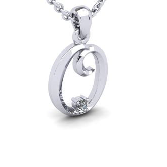 Diamond Initial Necklace, Letter O In Swirly Style, White Gold